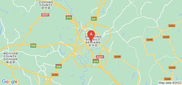 map of Neijiang, China