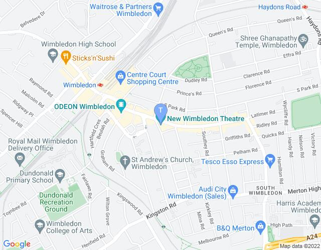 Location map for New Wimbledon Theatre
