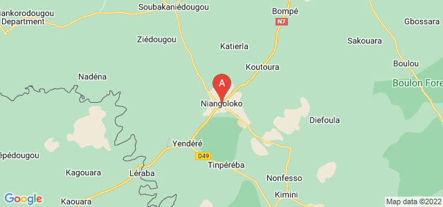 map of Niangoloko, Burkina Faso
