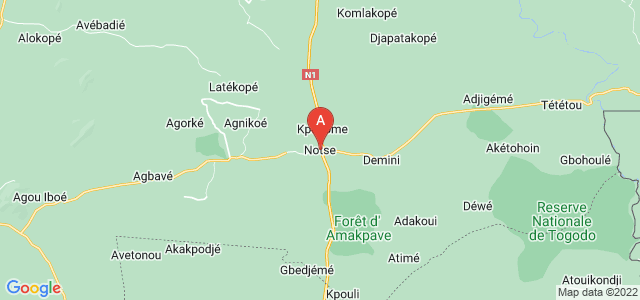 map of Notsé, Togo