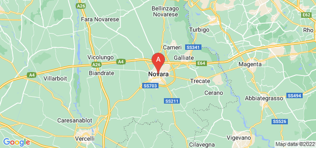 map of Novara, Italy