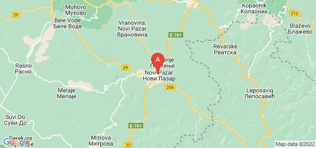 map of Novi Pazar, Serbia
