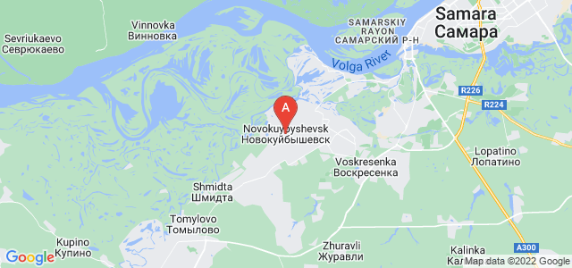 map of Novokuybyshevsk, Russia