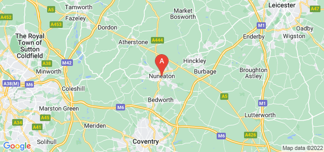map of Nuneaton, United Kingdom