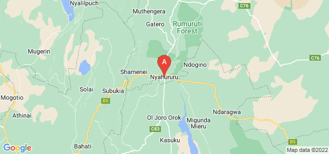 map of Nyahururu, Kenya