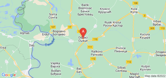 map of Odžaci, Serbia
