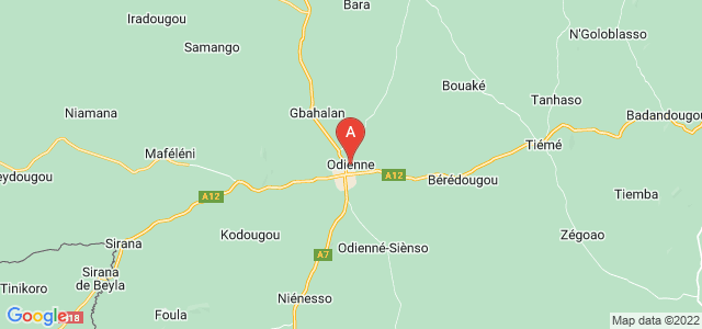 map of Odienné, Ivory Coast