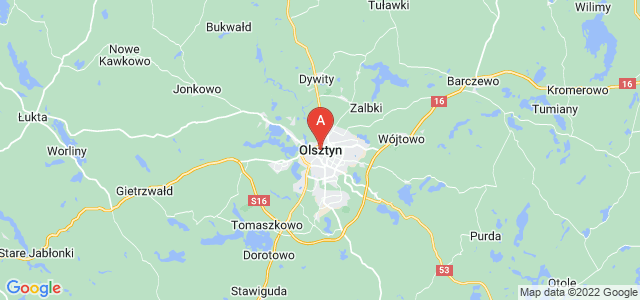 map of Olsztyn, Poland