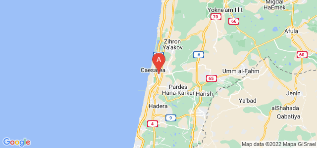 map of Or Akiva, Israel