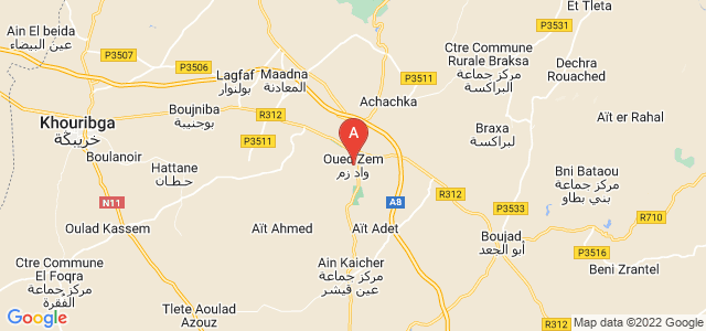 map of Oued Zem, Morocco