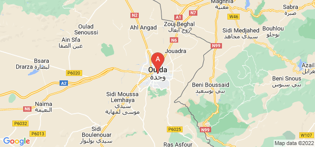 map of Oujda, Morocco