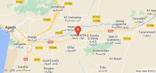 map of Oulad Teima, Morocco