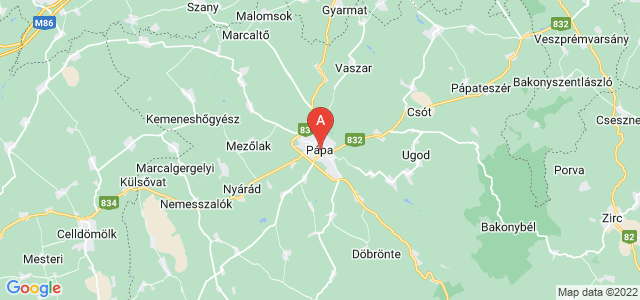 map of Pápa, Hungary