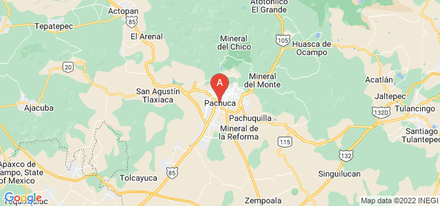map of Pachuca, Mexico