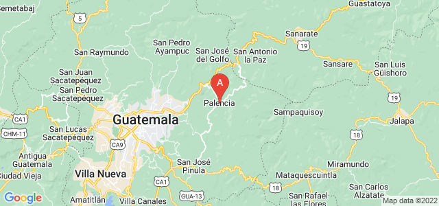 map of Palencia, Guatemala