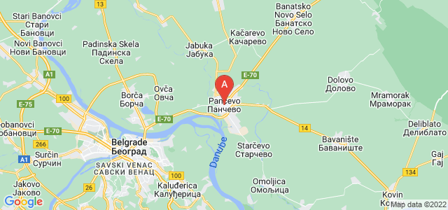 map of Pančevo, Serbia