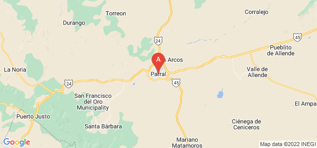 map of Parral, Mexico