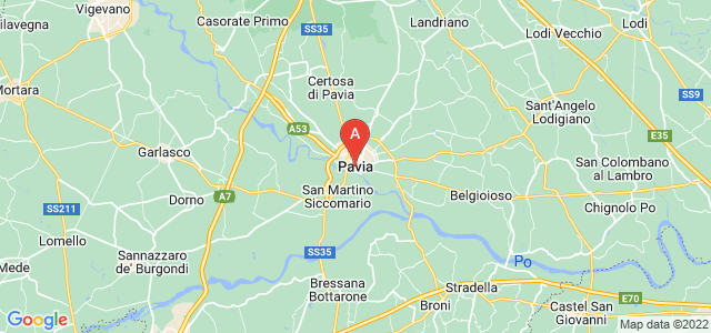 map of Pavia, Italy