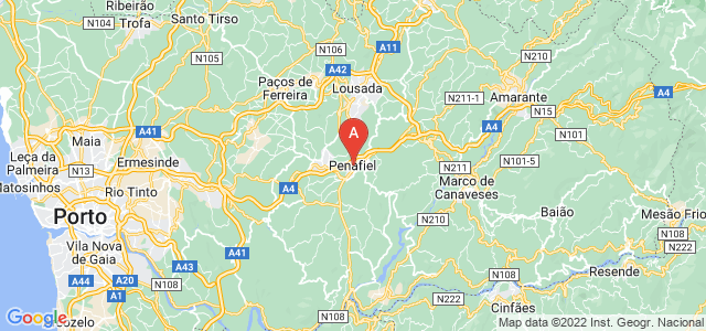 map of Penafiel, Portugal