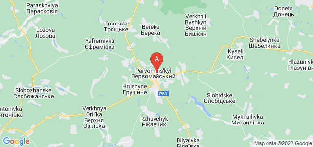 map of Pervomaiskyi, Ukraine