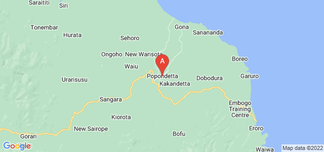 map of Popondetta, Papua New Guinea