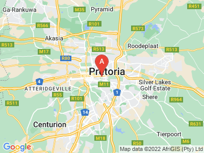 map of Pretoria, South Africa