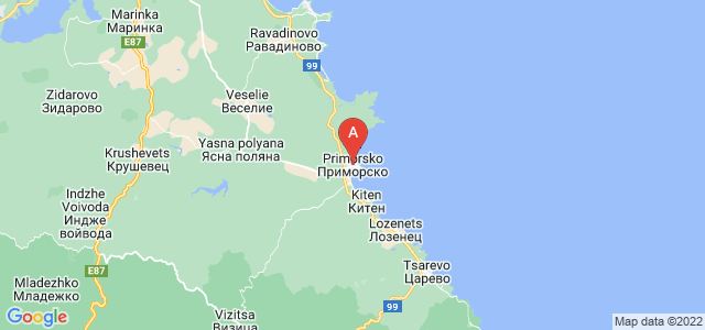 map of Primorsko, Bulgaria