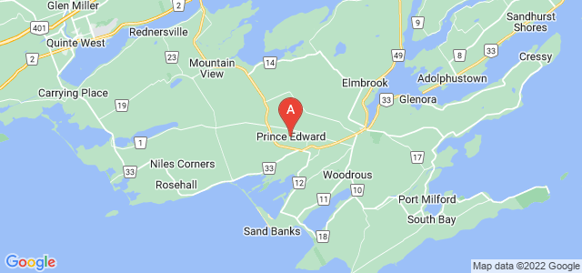 map of Prince Edward County, Canada