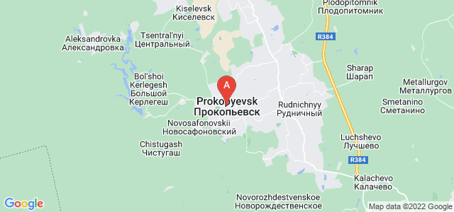 map of Prokopyevsk, Russia