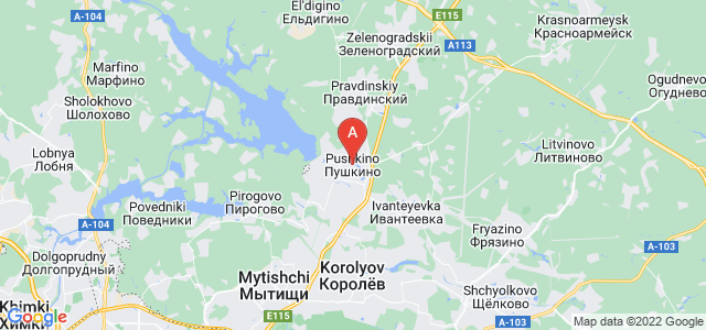 map of Pushkino, Russia