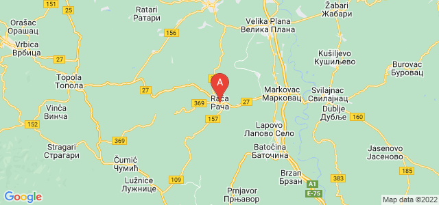 map of Rača, Serbia