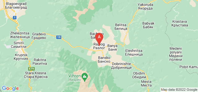 map of Razlog, Bulgaria