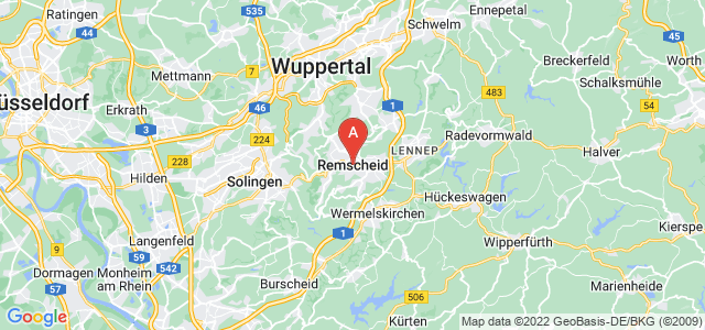 map of Remscheid, Germany