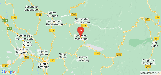 map of Resavica, Serbia