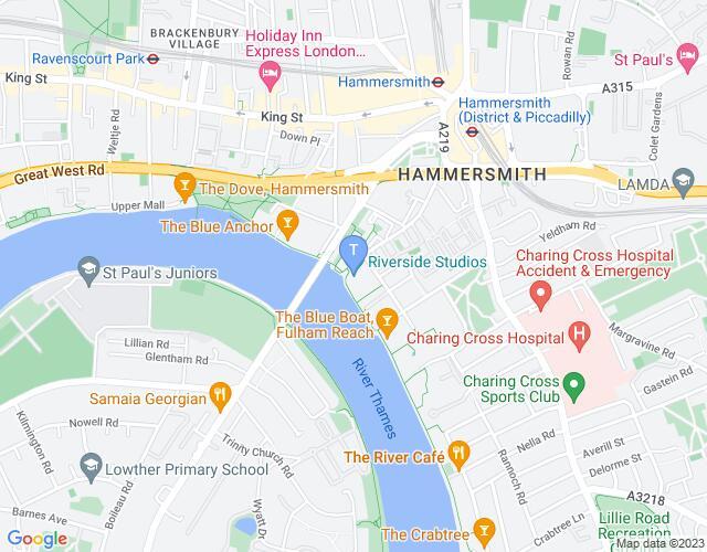 Location map for Riverside Studios