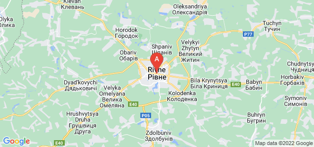 map of Rivne, Ukraine