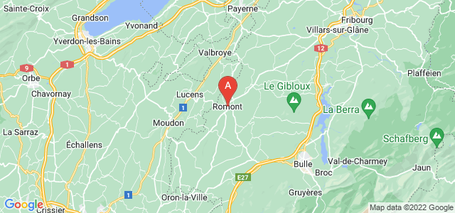 map of Romont, Switzerland