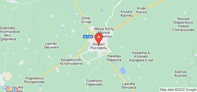 map of Roslavl, Russia