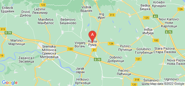 map of Ruma, Serbia