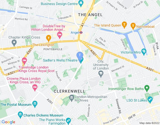 Location map for Sadler's Wells Theatre