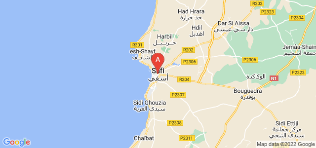 map of Safi, Morocco