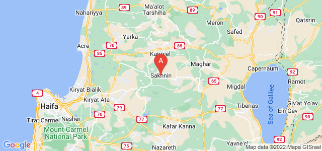 map of Sakhnin, Israel