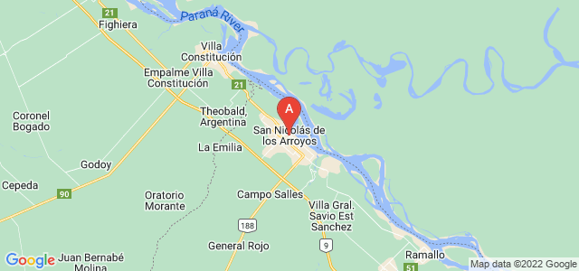 map of San Nicolás de los Arroyos, Argentina
