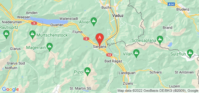 map of Sargans, Switzerland