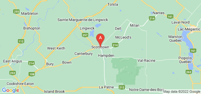 map of Scotstown, Canada