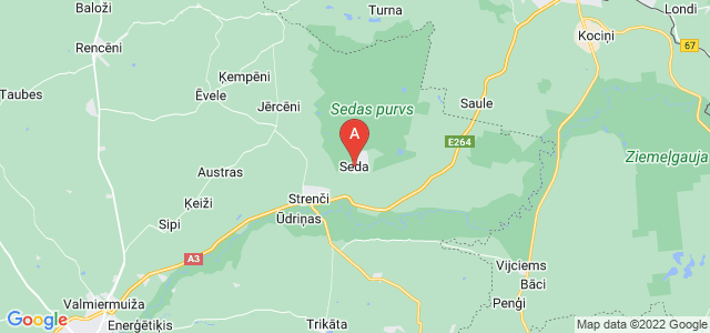 map of Seda, Latvia