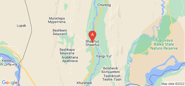 map of Shaartuz, Tajikistan