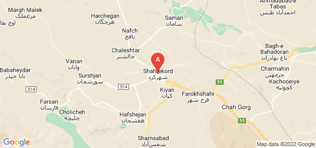 map of Shahrekord, Iran