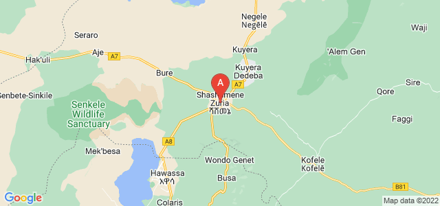 map of Shashamane, Ethiopia