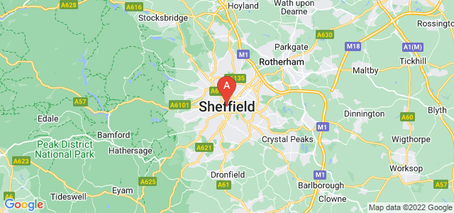 map of Sheffield, United Kingdom